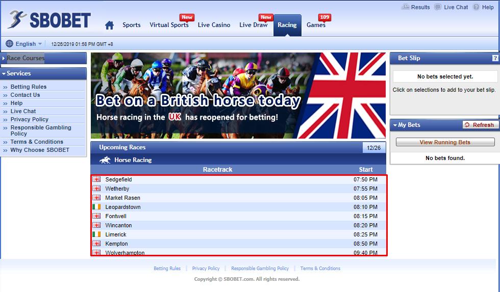 pasaran taruhan racing online sbobet yang lengkap
